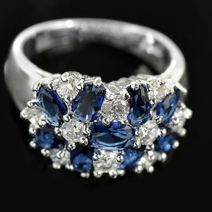 Sterling Silver 925 Sapphire Ring Size 8